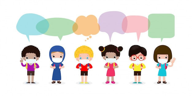 Ritorno a scuola per il nuovo concetto di stile di vita normale, set di bambini e nazionalità diverse con bolle di discorso e indossando una mascherina medica protettiva chirurgica per prevenire il coronavirus o la covide 19