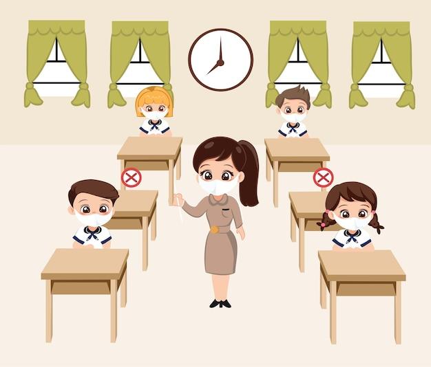 Ritorno a scuola per un nuovo concetto di stile di vita normale. l'insegnante indossa la maschera e insegna in classe e il distanziamento sociale protegge il coronavirus covid 19