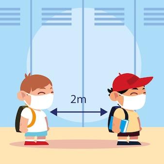 Ritorno a scuola per nuovi studenti normali, ragazzini con maschere e illustrazione a distanza
