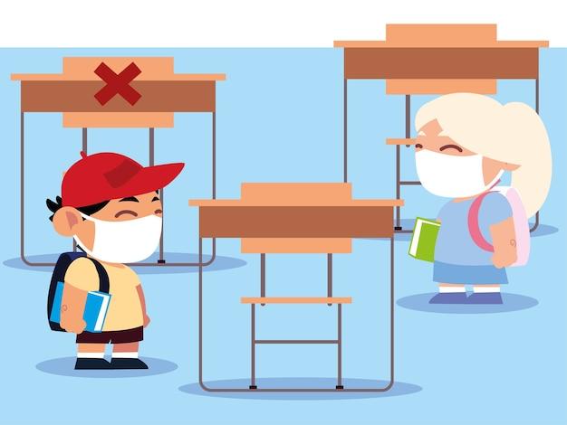 Torna a scuola per nuovi normali, i piccoli studenti in classe mantengono l'illustrazione della distanza fisica