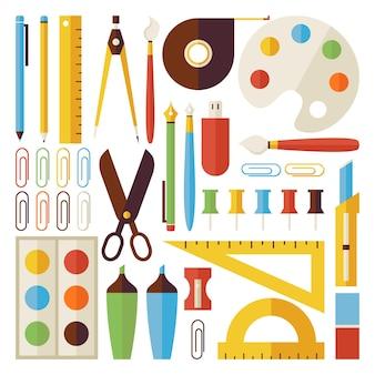 Torna al set di oggetti e strumenti per la scuola isolato su bianco. oggetti variopinti di vettore di stile piano. raccolta di modelli di scienza e istruzione. università e collegio. vita d'ufficio
