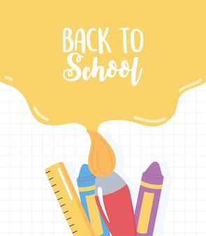 Ritorno a scuola, vernice colore pennello righello pastello griglia sfondo, fumetto di educazione elementare