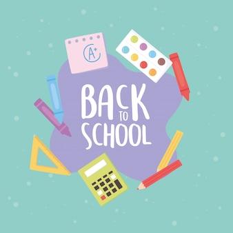 Torna a scuola, tavolozza calcolatrice colore pastelli pastello educazione fumetto