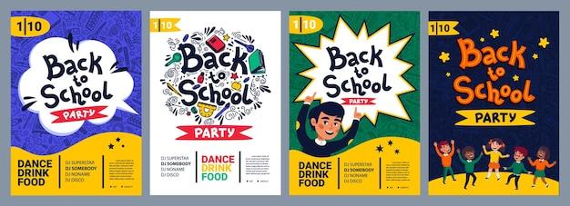 Set di poster per feste di ritorno a scuola volantino per feste da ballo di scuola illustrazione vettoriale in stile piatto