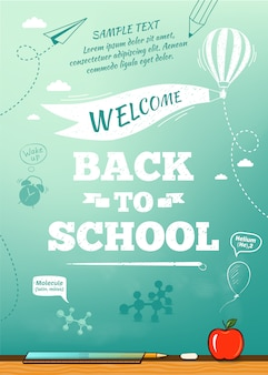 Torna a poster di scuola, sfondo di istruzione. illustrazione