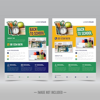 Modello di progettazione di volantini per poster di ritorno a scuola