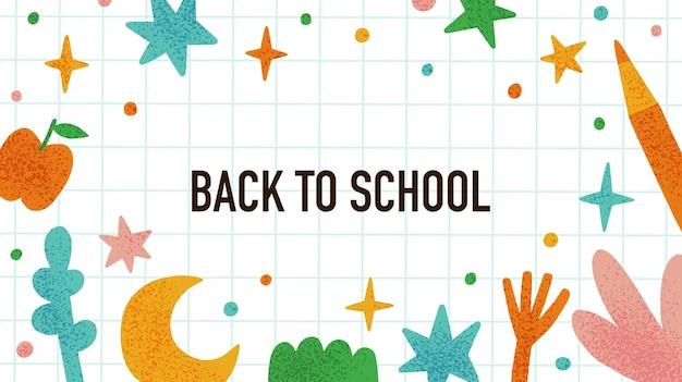 Torna a scuola poster divertente concetto di educazione