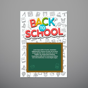 Torna a scuola poster, illustrazione vettoriale.