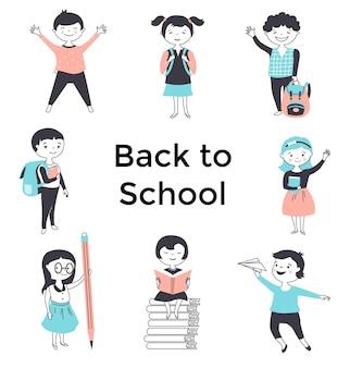 Poster di ritorno a scuola con simpatici cartoni animati per bambini. illustrazione vettoriale disegnato a mano.
