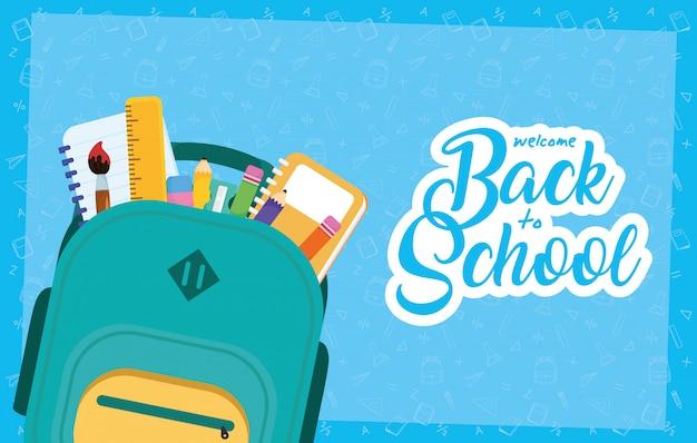Torna al poster della scuola con zainetto e forniture