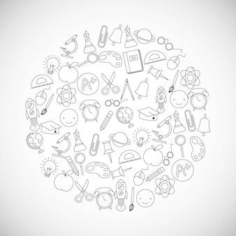 Torna a scuola cornice rotonda doodles utensili Vettore Premium