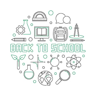 Back to school round outline simple