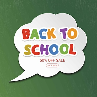 Torna a banner di vendita scuola con nuvoletta grigia.