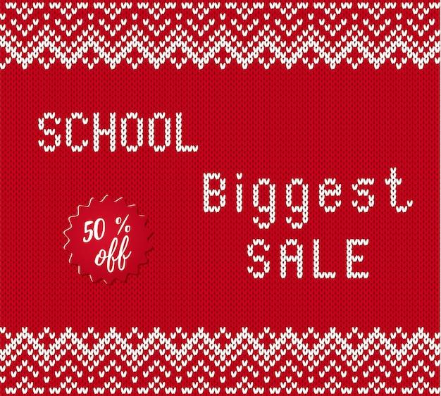 Torna a banner di vendita di scuola con testo in stile lavorato a maglia.