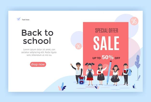 Banner di vendita di ritorno a scuola