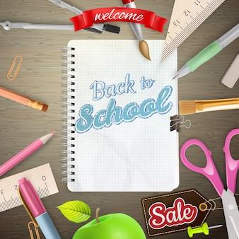 Carta di etichetta di vendita di ritorno a scuola.