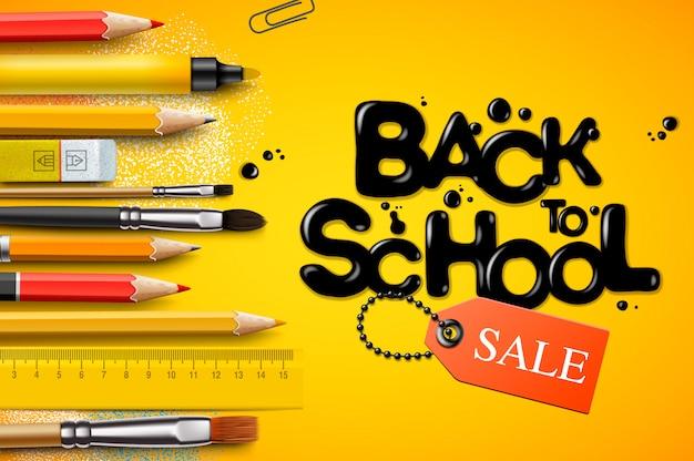 Ritorno a scuola vendita, poster e banner con matite colorate ed elementi per la promozione del marketing al dettaglio e l'istruzione relativa. illustrazione.