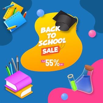 Disegno del manifesto di vendita di ritorno a scuola con offerta di sconto del 55% ed elementi di forniture realistici su sfondo colorato astratto.