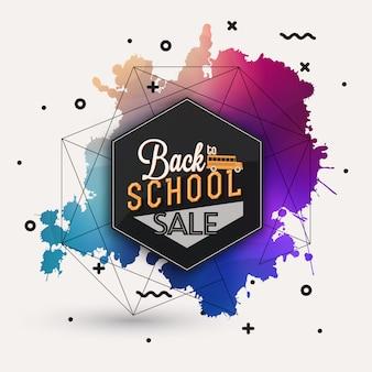 Torna a scuola modello di progettazione di vendita su sfondo colorato