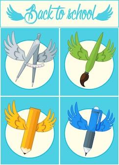 Di nuovo a scuola. icona della scuola con le ali