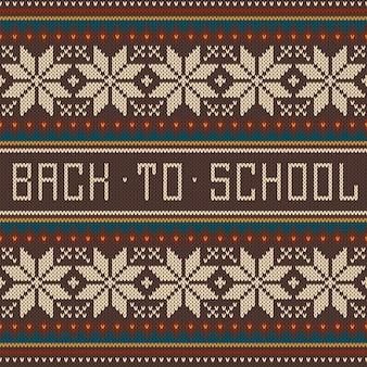 Torna a scuola ornamento senza cuciture sulla trama lavorata a maglia di lana