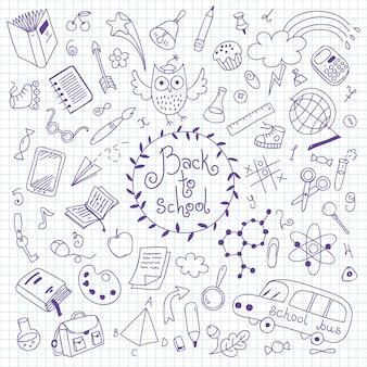 Di nuovo a scuola. insieme di elementi disegnati a mano per il design.