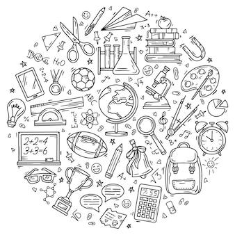 Torna a scuola set di icone di doodle lineare