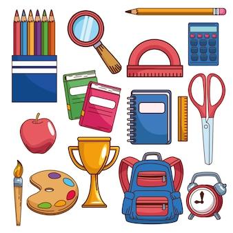 Torna a scuola set fornisce oggetti