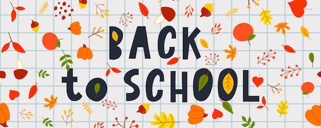 Ritorno a scuola scarabocchi abbozzati con disegnati a mano. illustrazione vettoriale foglie autunnali, scritte