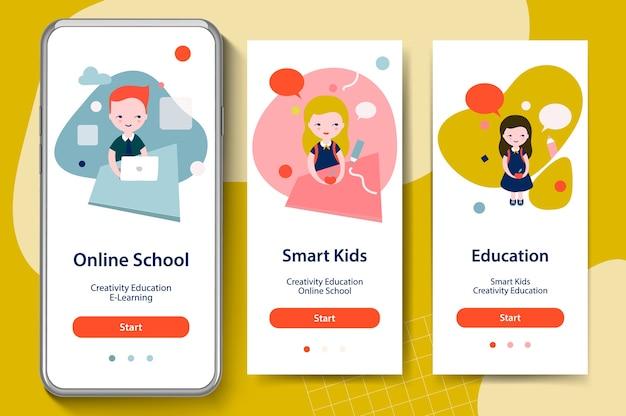 Ritorno a scuola, bambini intelligenti, istruzione online. schermate di onboarding per il concetto di modelli di app mobili.