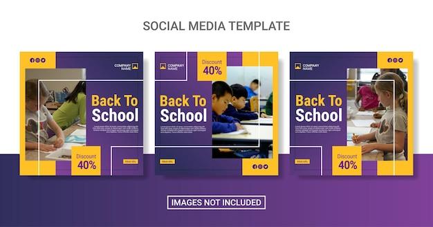 Torna a scuola modello di raccolta post sui social media