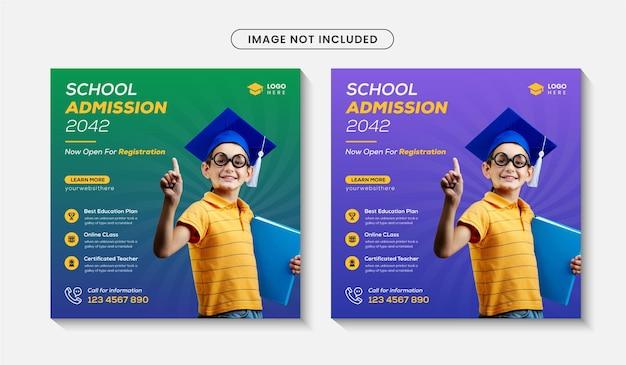 Torna a scuola social media post o ammissione a scuola modello banner web design premium vector
