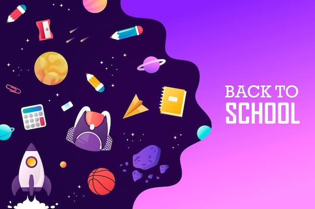 Ritorno a scuola pianeti a razzo spaziale e l'universo modello per poster di vendita di atterraggio di presentazione banner