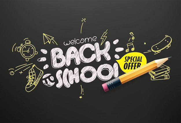 Banner di offerta speciale per il ritorno a scuola