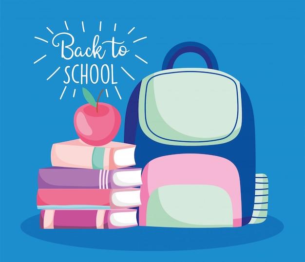 Torna a scuola pila libri zaino e illustrazione educazione mela
