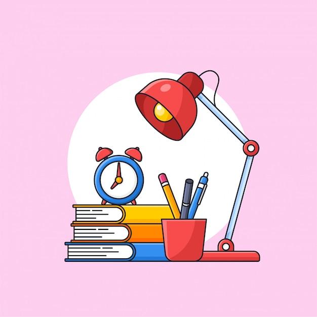 Di nuovo all'illustrazione di vettore del profilo della preparazione degli strumenti dello studente della scuola