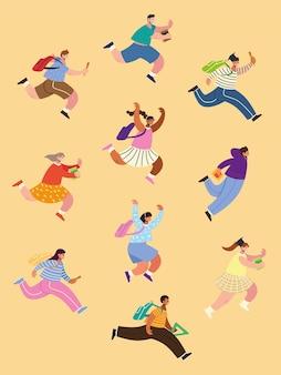 Torna a scuola gli studenti che corrono per studiare, compagni di classe con illustrazione di zaini