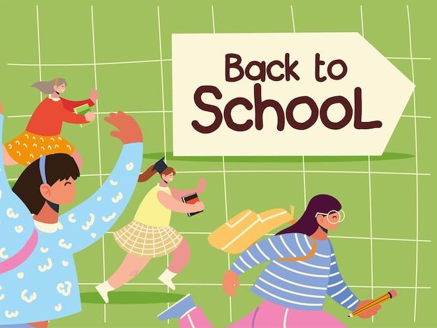 Torna a scuola gli studenti che corrono per studiare e illustrazione dell'istruzione