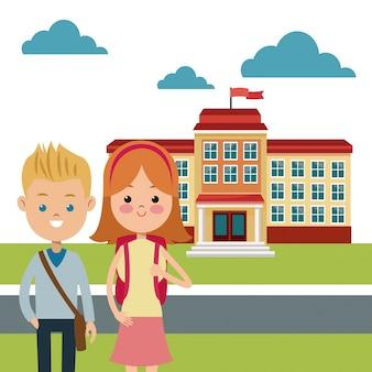 Torna a scuola studia costruzione di ragazzo e ragazza