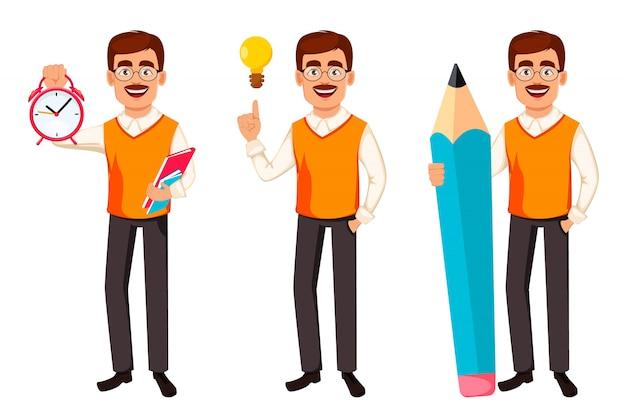 Di nuovo a scuola. personaggio dei cartoni animati di insegnante uomo
