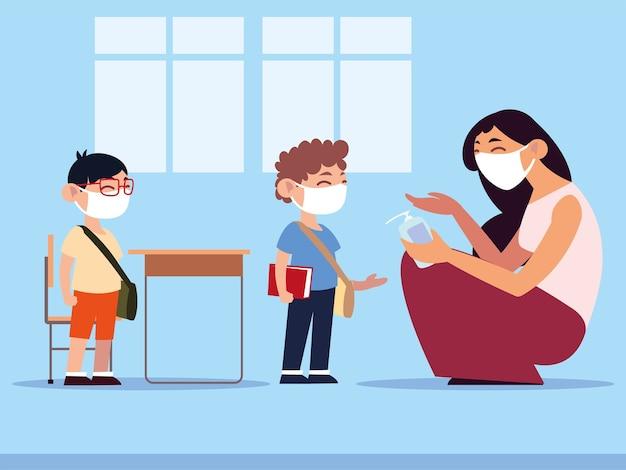Ritorno a scuola, insegnante che applica disinfettante per le mani agli studenti che indossano maschere per il viso, nuova illustrazione di uno stile di vita normale