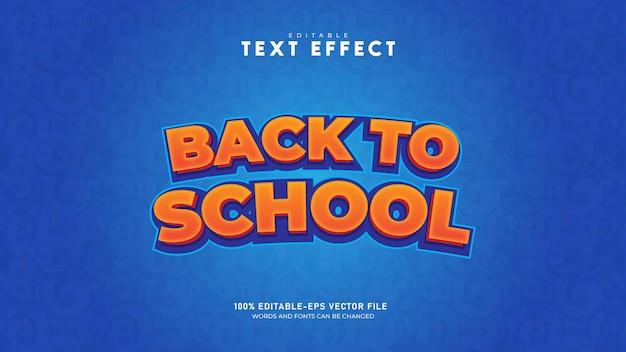 Ritorno a scuola effetto testo modificabile in stile di testo vettore premium