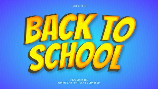 Ritorno a scuola effetto testo vettoriale modificabile