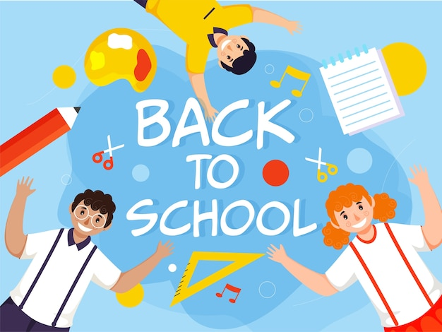 Torna a scuola testo con carattere allegro studente bambini e elementi di istruzione su sfondo blu.