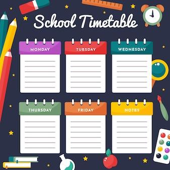 Torna a orario scolastico design piatto ti
