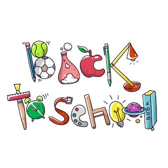 Torna a scuola tipo decorativo doodle