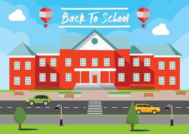 Vettore di ritorno a scuola. manifesto dell'iscrizione, bandiera, fondo dell'illustrazione