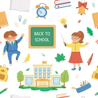Ritorno a scuola senza cuciture con oggetti ragazzo carino, insegnante e classe