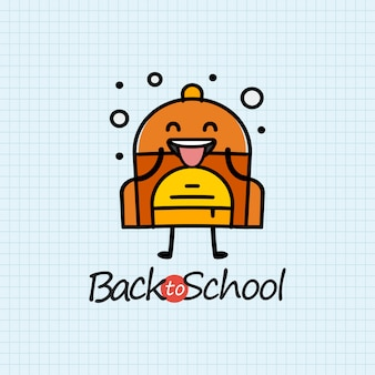 Ritorno a scuola con il carattere zaino