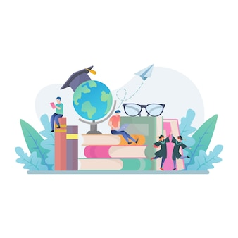 Torna a scuola con libri, istruzione e illustrazione del concetto di ricerca